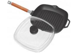Чугунная сковорода гриль квадратная с крышкой Биол 1028С (28 см)
